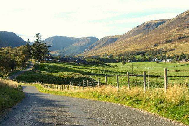 View northwards in Glen Clova, showing Caddam Farm and Clova Hotel