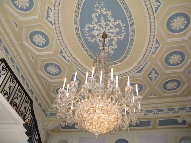Ceiling and chandelier at Duddingston House