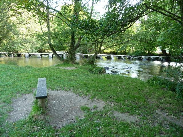 Exmoor : Tarr Steps, River Barle & Bench