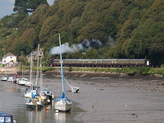 Train approaching Britannia Crossing