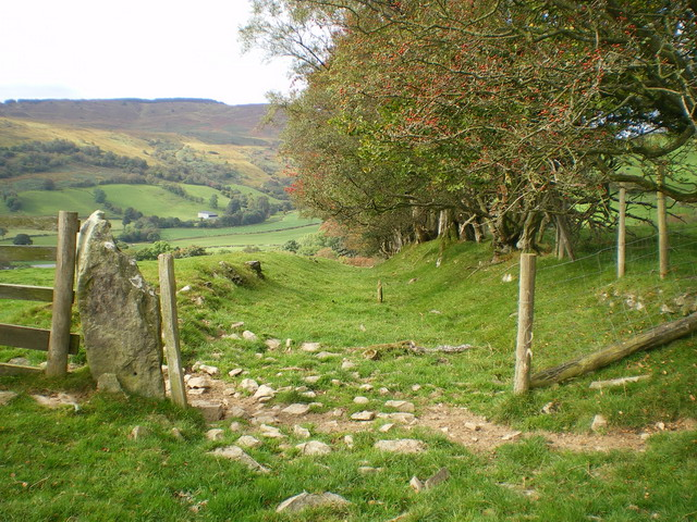 The old road - downhill into Glan Cownwy