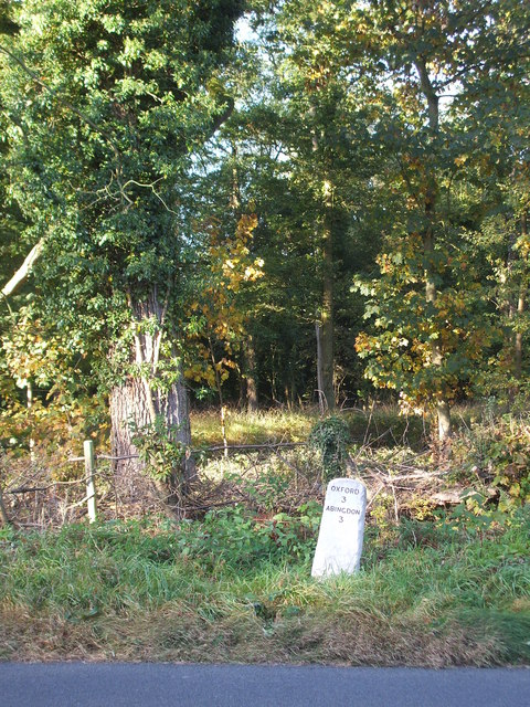 Milestone  by the road through Bagley Wood
