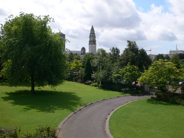 City Hall from Cardiff University Main Building