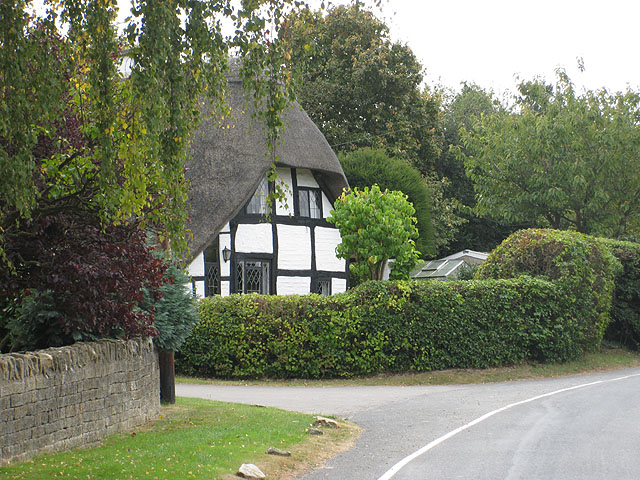 Timbered, thatched cottage, Southam