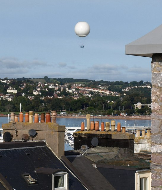 Chimneys and balloon, Torquay
