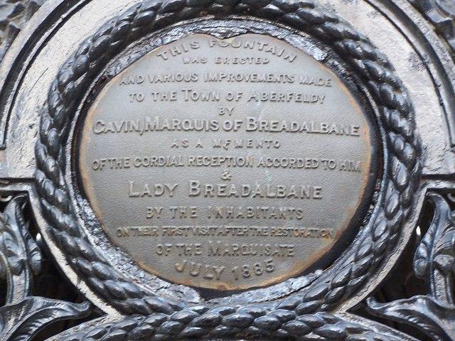 Inscription on the Breadalbane fountain, Aberfeldy