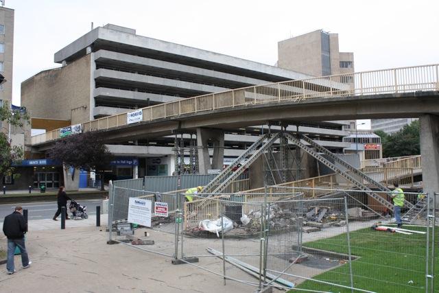 Demolition of Hall Ings Footbridge begins