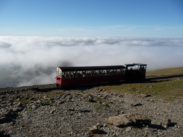 Snowdon Mountain Railway carriage and train near the summit