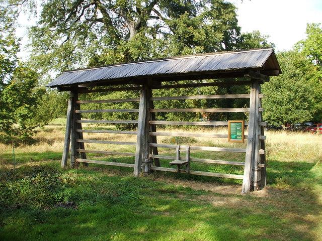 A Kozolec, a Slovenian hay rack at Harcourt Arboretum, Nuneham Courtenay