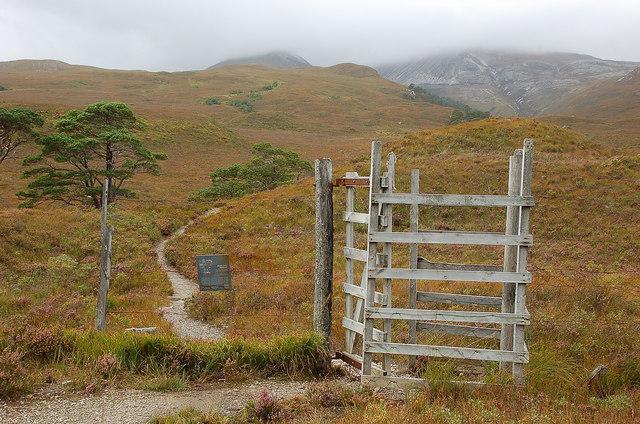 Gate in the deer fence, Allt a' Chuirn path
