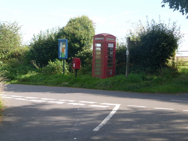 Melbury Abbas: postbox № SP7 27 and phone, West Melbury