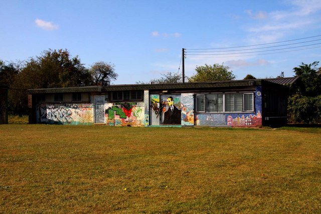 Graffiti covered changing rooms off Arnold's Way