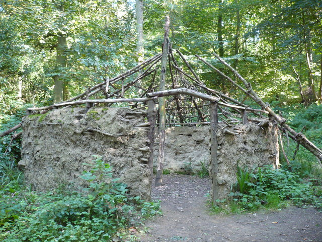 Recreation of an ancient roundhouse in Raincliffe Woods