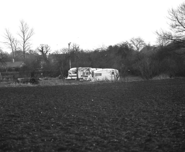 Travellers' caravans at Pardown, Hampshire