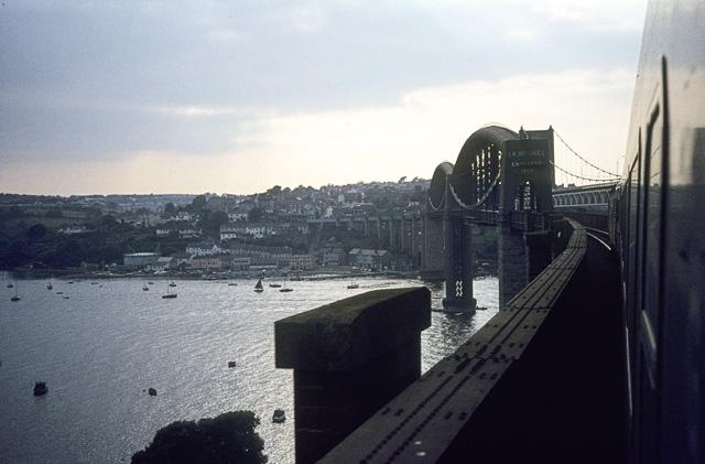 Crossing the Tamar railway bridge