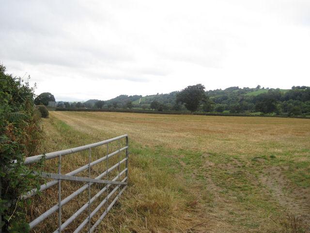 Stubble field near Sarn roundabout