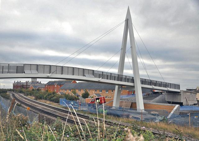 Footbridge under construction - Barry