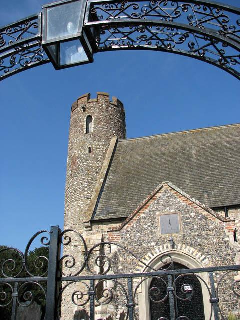St Mary's church - framed by the churchyard gate