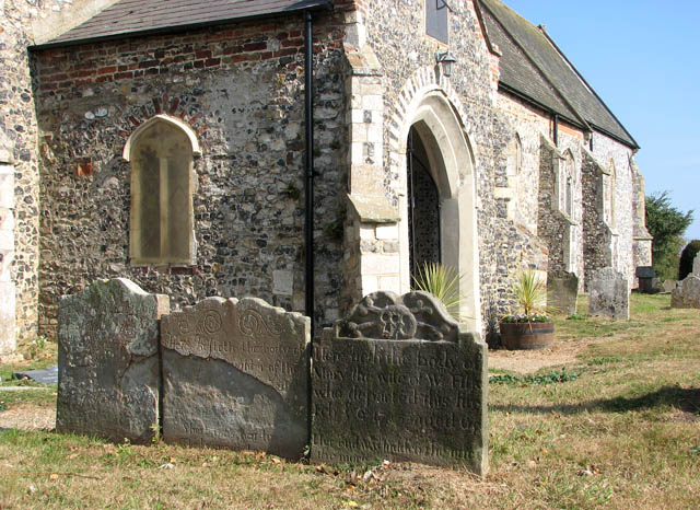 St Mary's church - old headstones by south porch