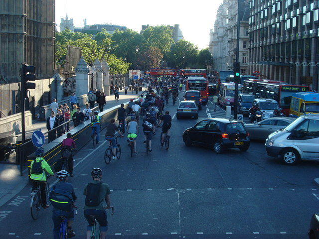 Bicycle protest on the A302 Bridge Street