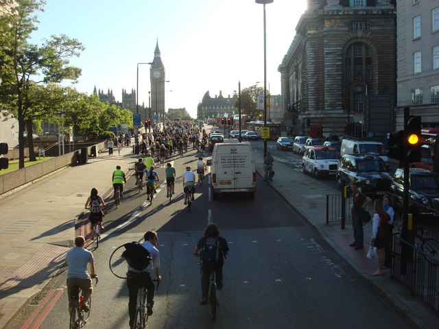 Bicycle protest on the A302 Westminster Bridge Road