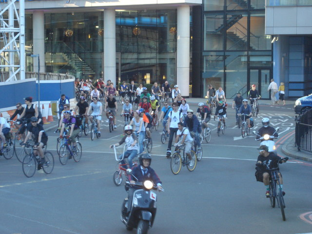 Bicycle protest on Addington Street