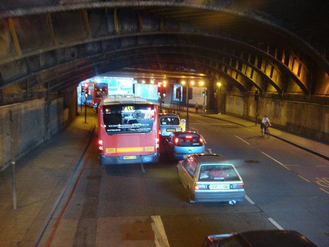 A23, Westminster Bridge Road underneath Waterloo station