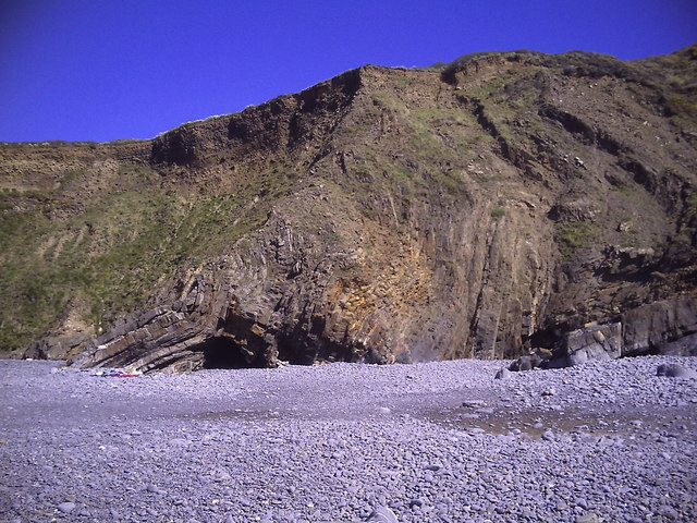 Folded strata at Welcombe Mouth