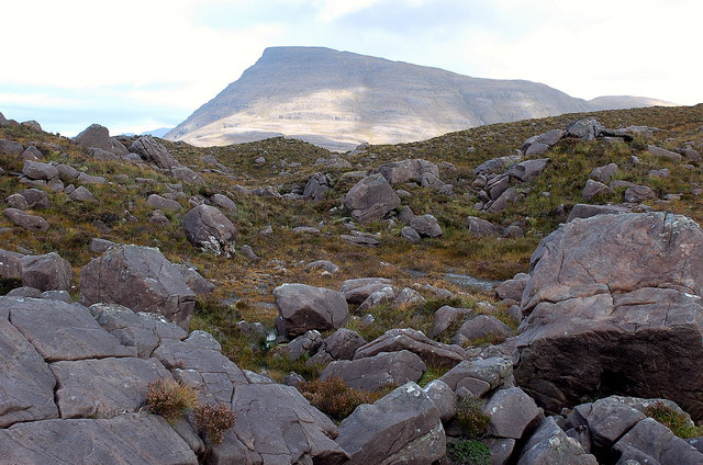 Boggy ground and boulder field
