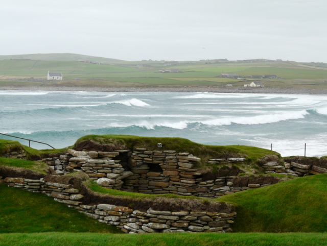 Skara Brae, Bay of Skaill in the background.