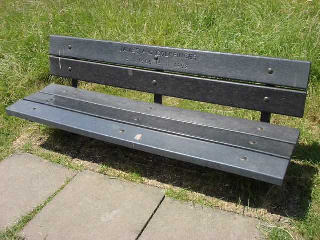 Memorial bench for James A. G. Goldfinger