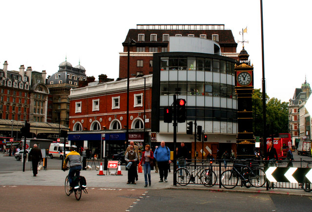 Jubilee Clock and buildings outside Victoria station, London