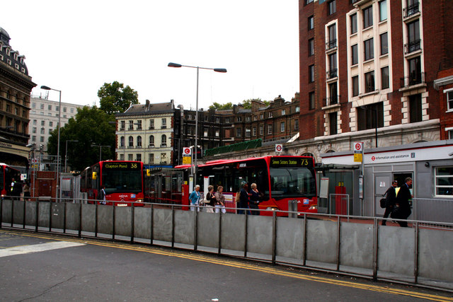 Articulated buses at  Victoria bus station