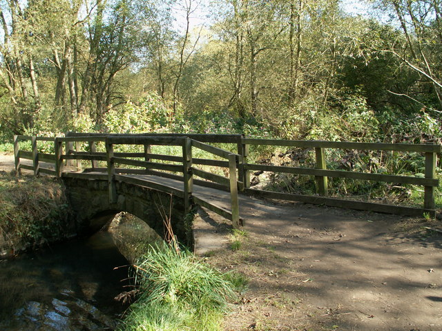 A footbridge on the eastern side of Worsbrough Reservoir