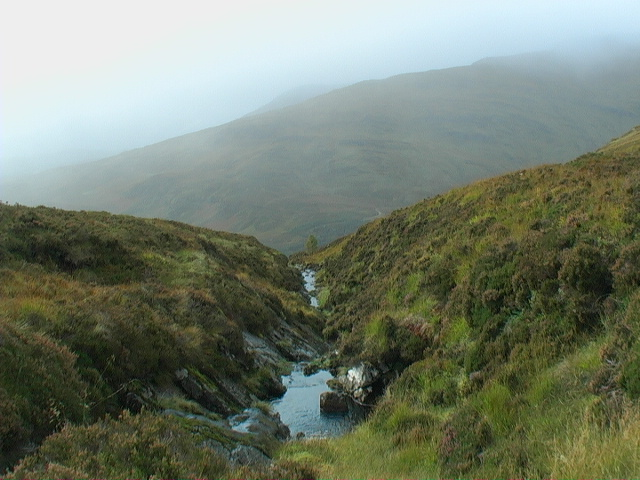 The start of the burn's course from peat coire to slabby line of least resistance