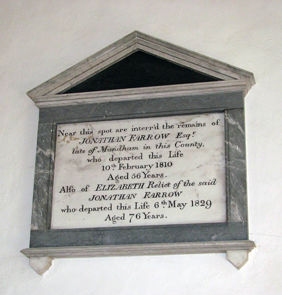 The church of All Saints - C19 wall monument