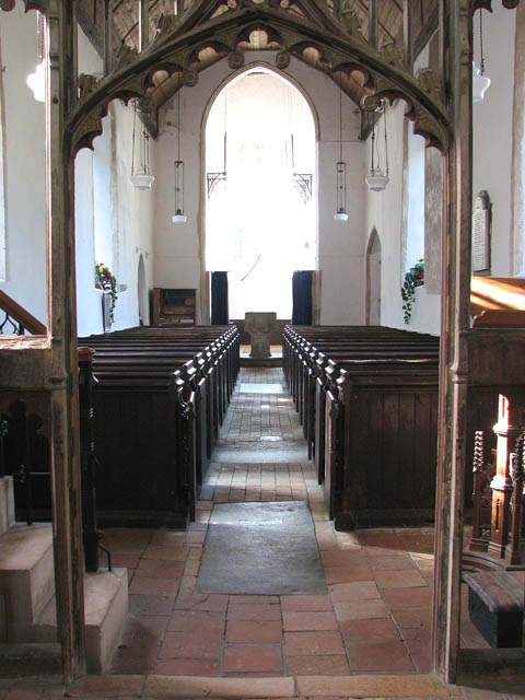 The church of All Saints - view west through rood screen