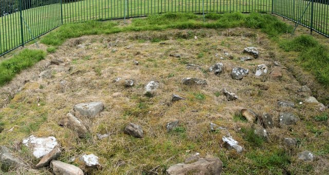 Exposed stone base of the Antonine Wall