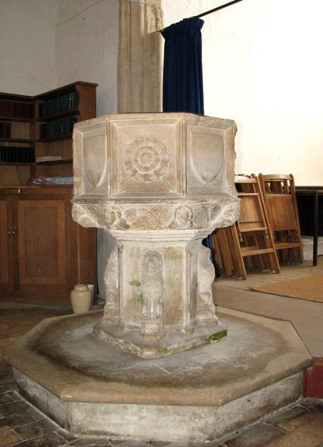 The church of All Saints - C15 baptismal font