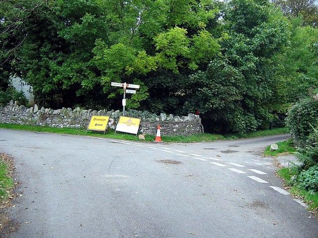 Road junction at Hopebeck