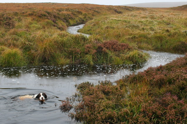 The Allt a' Chuil burn enters the drainage ditch