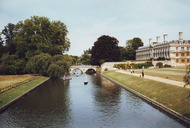 'The Backs' looking towards Clare Bridge, Cambridge.