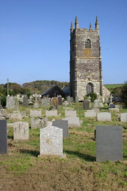 Lansallos Church Tower and Churchyard