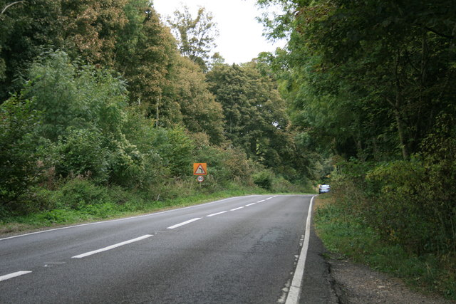 The A361 in Bradwell Grove woods
