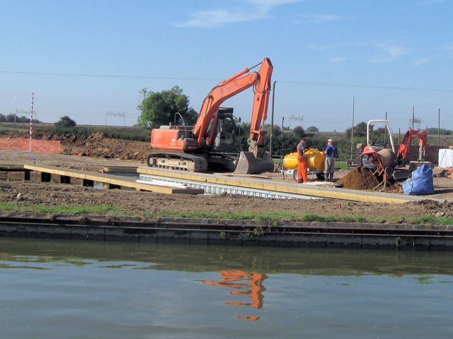 At work on the new marina, Grove Lock, Grand Union Canal