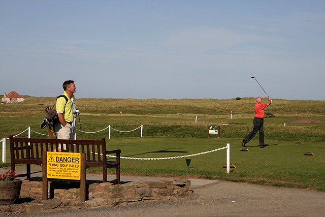 Teeing off at the 10th hole at Goswick Golf Course