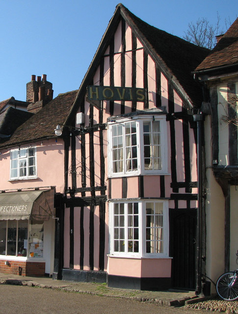 Suffolk Pink in Lavenham Market Place