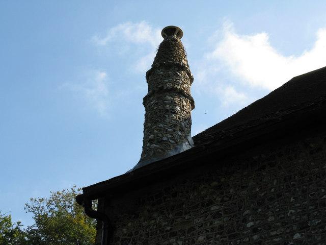 Flint clad chimney St John the Baptist Church