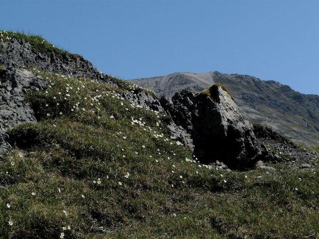 Limestone outcrop by Loch Mhaolach-coire