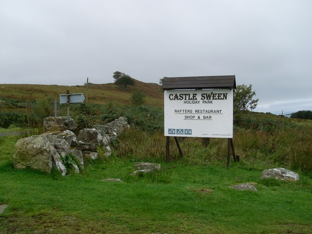 Sign by the road to Castle Sween and the Caravan Park